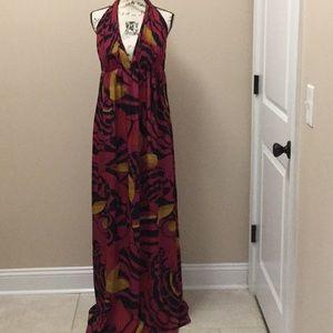 Kay Unger pink and black silk halter maxi dress